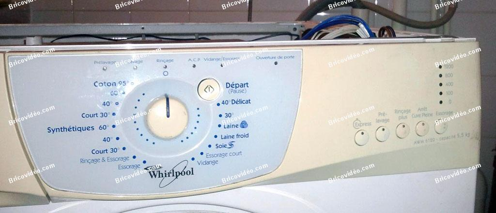 depanner lave linge whirlpool awm 6120