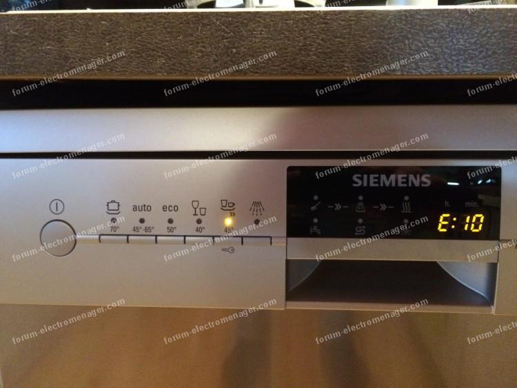 Problème chauffage lave-vaisselle Siemens