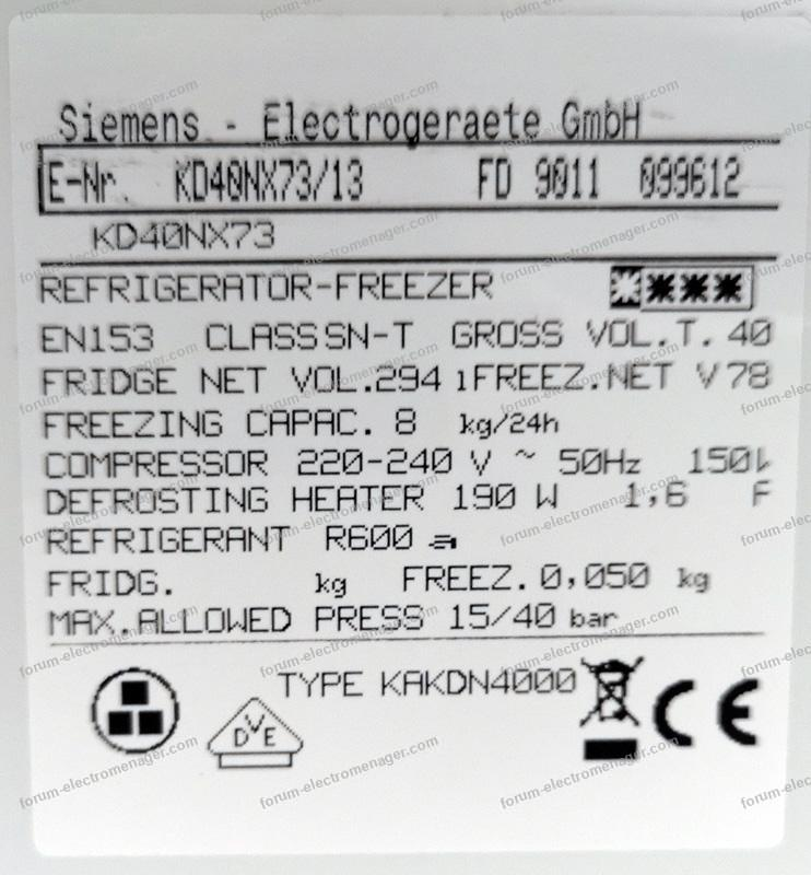 panne frigo siemens KD40NX73/13