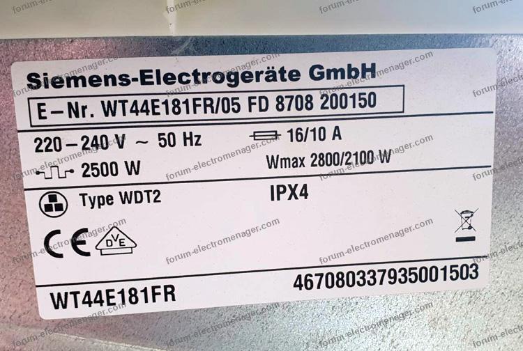 dépannage sèche-linge Siemens WT44E181FR