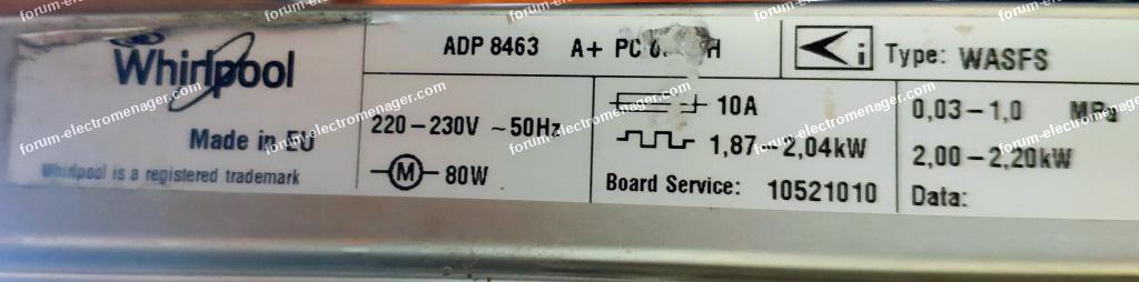 plaque signalétique lave vaisselle Whirlpool ADP 8463