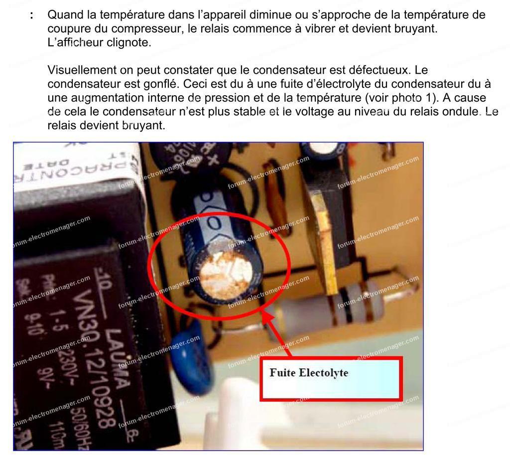 remplacement condensateur congélateur Whirlpool
