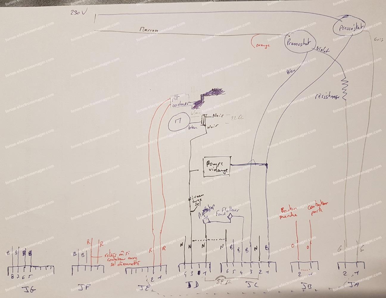 schéma électrique lave vaisselle Electrolux ASI 6234