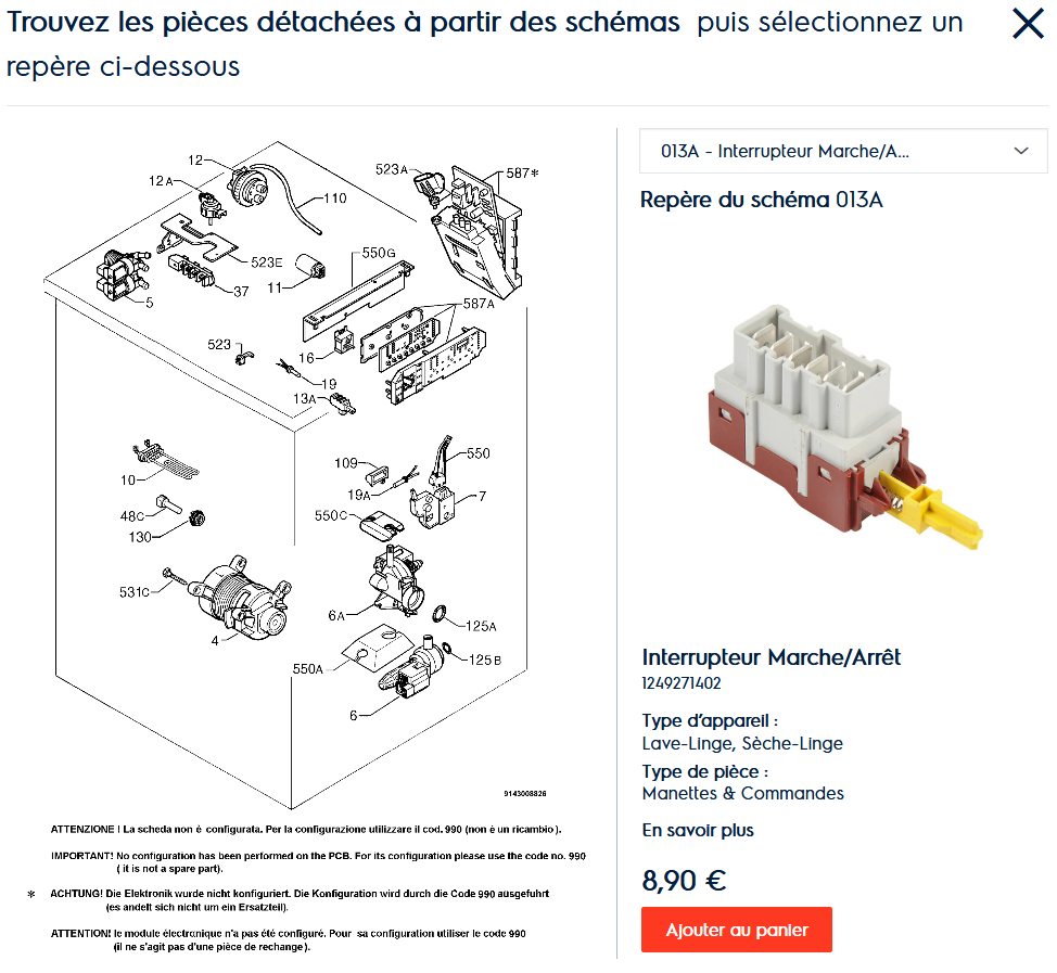 screenshot 2020 05 09 pieces detachees pour 91460250201 modele aw2127s webshop electrolux fr